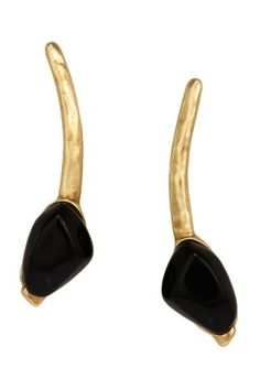Cannes Gold Black Stone Earrings