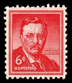 Theodore Roosevelt (1858-1919), the twenty-sixth president of the United States, is honored on the 6-cent Liberty stamp. The stamp was designed by Victor S. McCloskey, Jr., and Charles R. Chickering of the Bureau of Engraving and Printing. It was issued on November 18, 1955, at New York City, the place of Roosevelt's birth.