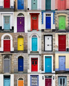 A photo collage of 25 colourful front doors to houses and homes. Free art print of Vertical photo collage of 25 front doors . Wooden Front Door Design, Wooden Front Doors, Painted Front Doors, The Doors, Entry Doors, Exterior Door Colors, Front Door Paint Colors, Exterior Doors, Exterior Paint