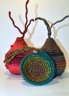 FIBRE ART VESSEL  woven  coiled  textile art  ooak by HeketDesigns
