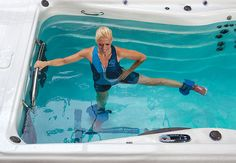 Enjoy swimming, aquatic exercise, resistance training and more with Michael Phelps Signature Swim Spa by Master Spas. Jacuzzi, Spas, Aquatic Therapy, Piscina Interior, Hot Tub Deck, Pool Workout, Bicycle Workout, Water Aerobics, Small Pools