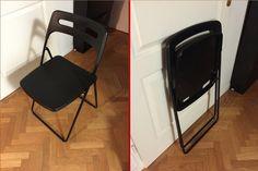 4 Chaises de salon/jardin pliable Noir