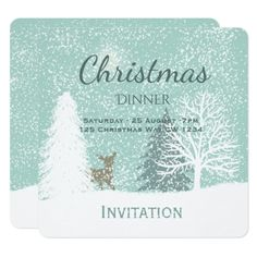 Winter Wonderland deer snow pine trees Christmas Card - diy cyo personalize design idea new special