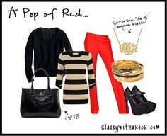 A Pop of Red - Red Pants, Black and Gold