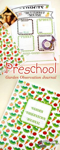 Learn with your garden all season long using a Garden Observation Journal.  Track dates from planting seeds to sprout, mature plant, and first vegetable harvest, and keep count of all your harvest!  Download your very own Garden Observation Journal, including 20+ customized pages of vegetables and fruits, as well as a generic flower and blank page to add as many as you need to track your own garden beds! | STEAM | STEM | Gardening with Kids | Preschool | Plant Life Cycle
