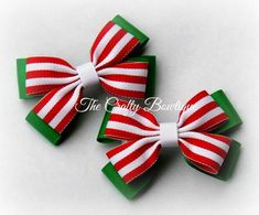 Christmas Hair Bows, Christmas Ornament Crafts, Making Bracelets With Beads, Hair Bow Tutorial, Handmade Hair Bows, Baby Hair Bows, Making Hair Bows, Diy Bow, Boutique Bows