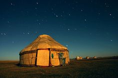 Yurt in Moonlight, Kyrgyzstan. The temporary and portable nature of this type of dwelling makes us forget how ancient a structure the yurt is; some researchers say it may go back as far as 600 BCE.