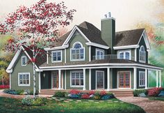 The best wrap around porch house floor plans. Find small country farmhouses, Southern homes & more with wrap around porch. Country Style House Plans, Cottage House Plans, Farm House, Farmhouse Design, Farmhouse Style, Farmhouse Front, Modern Farmhouse, Plan Chalet, Drummond House Plans