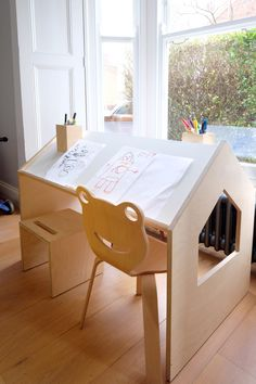 Finn and Violet's drawing and craft table