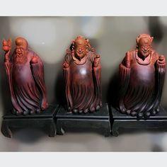 Bộ Tam Đa (Phúc - Lộc - Thọ) cỡ lớn  Kích thước: 85-50-40 cm  Nặng khoảng: 65 kg/1 pho Lunar New, Sculpture Art, Bookends, Buddha, Woodworking, Carving, Crafts, Manualidades, Wood Carvings