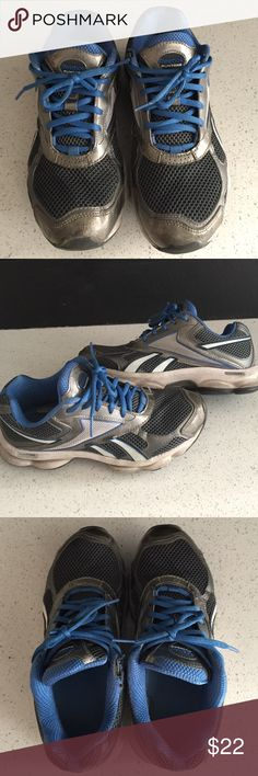 Reebok Shoes Reebok Runtone shoes. Used condition. These are one of my favorite and most comfortable pair of shoes I own. Colors are blue, gray, and white. I am selling simply because I bought a new pair of shoes. Shoes