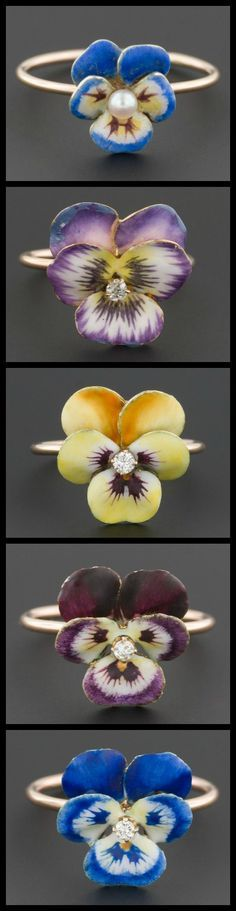 These beautiful pansy rings are all conversion pieces: the floral elements were originally vintage and antique stickpins, repurposed by Trademark Antiques to give the lovely flowers new life as rings.