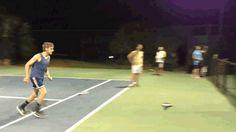 Funny #gif funny fail afv fall ouch tennis fence flip