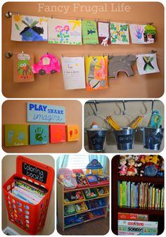 Fancy Frugal Life: Our New Playroom Tour (Organizing the Kid Clutter) Ikea Playroom, Playroom Organization, Playroom Ideas, Organization Ideas, Organized Playroom, Kids Artwork, Artwork Pictures, Hang Pictures, Home Daycare