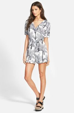Leith+Palm+Print+Surplice+Front+Romper+available+at+#Nordstrom