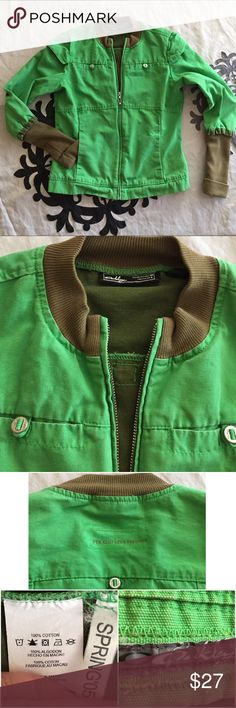 Oakley bomber jacket, medium Heavy denim feel to the fabric. Super cute design details. The waist is about 18 inches laid flat. Length is about 22 1/2 inches, from the shoulder to the front hem. No rips, tears or stains. Thank you! Oakley Jackets & Coats