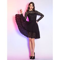 Homecoming Cocktail Party/Homecoming/Holiday Dress - Black Plus Sizes A-line Queen Anne Knee-length Lace/Chiffon – USD $ 84.99