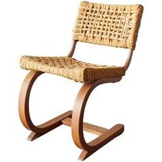 1930s Oak and Raffia Woven Chair by Bas Van Pelt