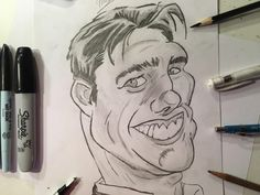 Caricature Drawing of Tom Cruise Cool Pencil Drawings, Pencil Art, Caricature Drawing, Tom Cruise, Sharpie, Toms, Easy, Drawings, Caricature