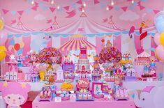 Circus Birthday, 1st Birthday Girls, 1st Birthday Parties, Carnival Themed Party, Birthday Party Decorations, Carousel Party, First Birthdays, Party Time, Party Ideas