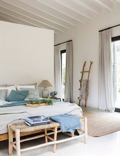 〚 Natural materials and beautiful shades of green: holiday villa in Mallorca 〛 ◾ Photos ◾ Ideas ◾ Design #bedroom #natural #Homedecor #interiordesign #Ideas #inspiration #tips #cozy #Living #style #space #home #decor #interior Shades Of Green, Modern Rustic, My Dream Home, Ladder Decor, Decoration, House Design, Interior Design, House Styles, Furniture