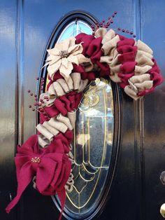 Burlap Candycane Poinsettia Holiday Wreath on Etsy, $50.00