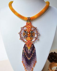 Unique bead crochet necklace micro macrame pendant by MartaJewelry