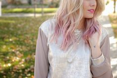 Shimmery shirt, pink hair, jeans, and leopard studded heels. A fun winter/fall outfit combo.  from www.theredclosetdiary.com