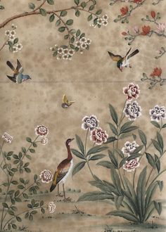 Dessin Fournir Companies - Music Room - Chinoiserie wallpaper - this is gorgeous and I can imagine Lydia's house decorated with wallpaper like this ! Hand Painted Wallpaper, Painting Wallpaper, Fabric Wallpaper, Wall Wallpaper, French Wallpaper, Chinese Wallpaper, Wallpaper Panels, Iphone Wallpaper, Chinoiserie Wallpaper