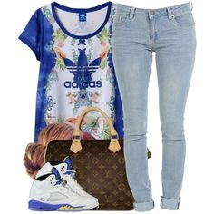 A fashion look from August 2014 featuring adidas t-shirts and Louis Vuitton handbags. Browse and shop related looks.