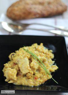 Risotto de pollo al curry. Receta #recipe #rice Couscous, Arroz Al Curry, Quinoa, I Want To Eat, Polenta, Recipe Collection, Meat Recipes, A Food, Shrimp