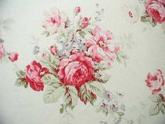 Yuwa American Barkcloth- Raspberry and Pink Roses on White