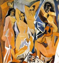 Cubism was a century avant-garde art movement, pioneered by Pablo Picasso and Georges Braque. This painting is Les Demoiselles D' Avignon by Picasso. Pablo Picasso, Art Picasso, Picasso Paintings, Picasso Style, Art Paintings, Picasso Sketches, Watercolor Paintings, Picasso Drawing, Cubist Movement