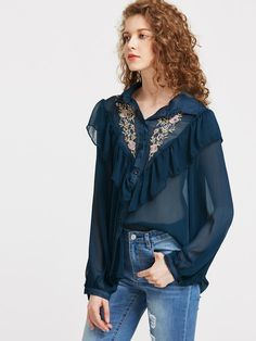 Frill Trim Embroidered Yoke Semi Sheer Blouse
