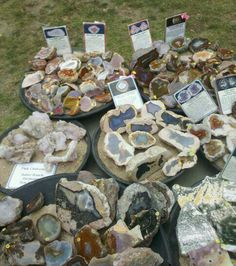 Various agates for  sale at lake superior  agate days in Deer Park Michigan