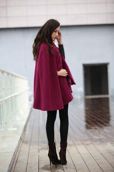 Purple Cashmere Coat Military Cape Coat by Sophiaclothing on Etsy, $129.99