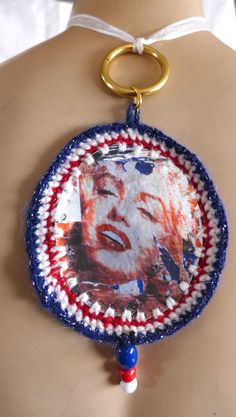 Handmade Crocheted Necklace Painted Leather Pendant Blue Red White Colors+ Beads #HANDMADEBYRIVKAFILIN #Statement