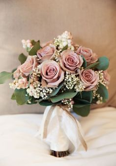 Ultra elegant, feminine and romantic, you'll LOVE this vintage style bouquet of dusky blush pink roses, gypsophila and greenery. Be Inspired By This Pastel Vintage Wedding For An Ultra Pretty Big Day on Wedding Ideas today!