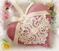 Sachet Heart, Cottage Style, Rose Mauve Pink Moire, Venise Lace Lavender Buds, Primitive Handmade CharlotteStyle Decorative Folk Art