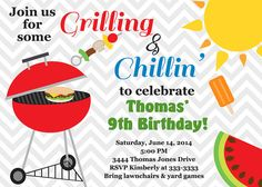 Grilling and Chillin BBQ Cookout Birthday Party by PartyPopInvites, $17.00