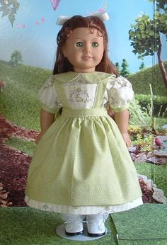 Moss Green Party Dress and Pinafore for American Girl Dolls