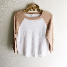 J. Crew Airspun Baseball Sweater Yarns have a slightly airy texture. Linen/poly. Draped fit. Hits at hip. Three-quarter sleeves. Shirttail hem. Machine wash. Online exclusive. Import. J. Crew Sweaters Crew & Scoop Necks