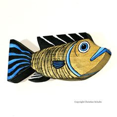 Bronze and Blue Wood Fish Art Wall Hanging by TaylorArts on Etsy