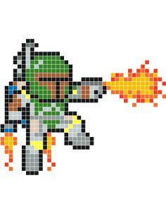 Boba Fett pixel art - Stickaz