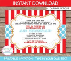 Instantly download my Carnival or Circus Invitation Template. Easily customize the template at home & print out as many Circus Invitations as you like.: