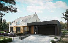 Zdjęcie projektu EX 18 energo plus Modern Ranch, Modern Barn, Hudson Homes, Villa, Dream House Exterior, House Extensions, Prefab Homes, Facade House, Simple House