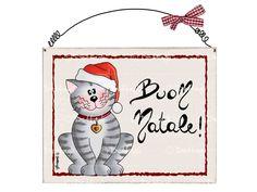 "Targhetta gatto ""Buon natale"". Natale, Targhette"