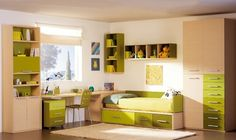 Youth bedroom in green apple Bedroom Setup, Home Bedroom, Kids Bedroom, Bedroom Green, Small Room Interior, Bedroom False Ceiling Design, Teenage Room, Teen Bedding, Bed With Drawers