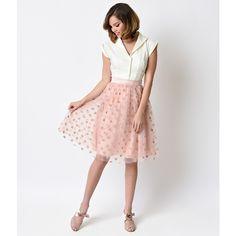 Retro Dusty Pink Polka Dot Flocked High Waist Circle Skirt ($52) ❤ liked on Polyvore featuring skirts, light pink, pink skirt, white circle skirt, white knee length skirt, flared skirt and skater skirt