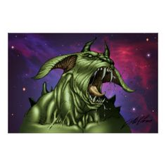 Alien Dog Monster Warrior by Al Rio Poster